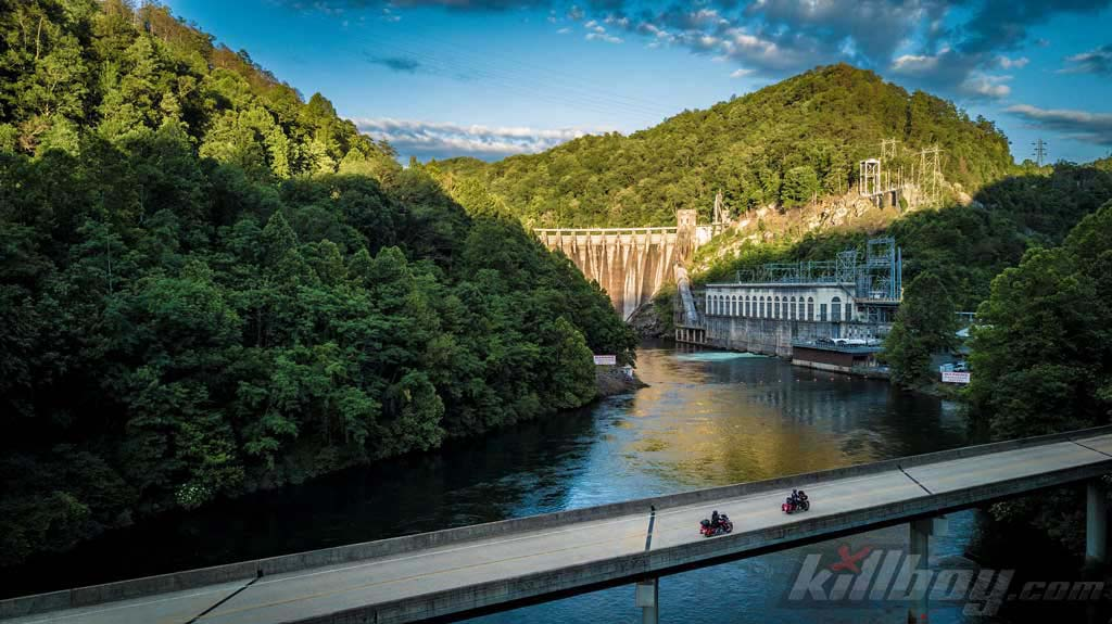 "Cheoah Dam th oldest dam on the Little Tennessee River, aka Fugitive Dam made famous in the 1993 movie ""The Fugitive""."